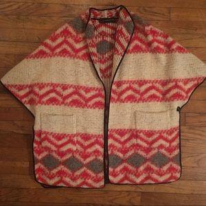 Zara wool tribal navajo pattern poncho, Size M